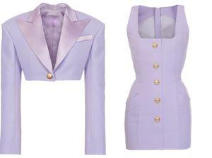 European and American autumn stars with one button short suit + lion button square collar temperament vest dress