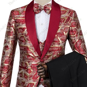 New Man Fashion Red Gold Jacquard Eye-catching High Quality Party Blazer+Pants+Vest Suits Male Casual Slim Blazer Coat Suit 200922