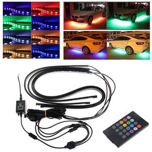 4pcs led bar RGB LED Strip Under Car Tube Underglow Underbody System Neon Light Kit 12V light bar
