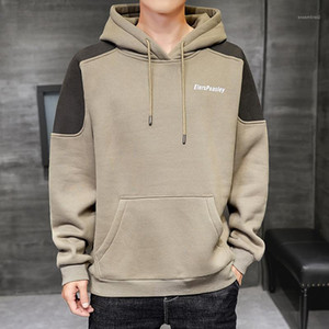 Long Sleeve Loose Pocket Sweatshirt Homme Hip Hop Clothes Mens Patchwork Letter Casual Hoodies Teenager