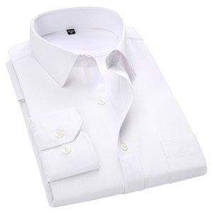 4XL 5XL 6XL 7XL 8XL большой размер мужской бизнес повседневная рубашка с длинными рукавами белый синий черный умный мужской социальный платье плюс кг-687