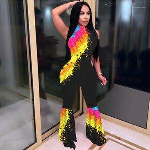 صبغ المرأة مصمم الأزياء حللا الرقبة الطاقم أكمام رئيس سروال الملابس النسائية عادية سليم السروال القصير التعادل