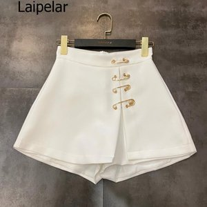 2020 Summer New Fashion Metal Pin Decorative Skirt Shorts Solid Color Lady High Waist Wide Leg Shorts Women Skirts