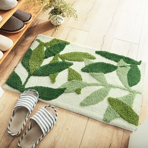 Cross Border Green Leaf Thick Flocked Doorway Mat Household Entrance Anti-slip Mat Toilet Water-Absorbing
