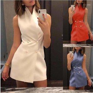 Katı Renk Kolsuz Günlük Elbiseler OL Stil A Hattı Elbise Standı göğsü Yaka dizayn edilmiş elbiseler Double Womens