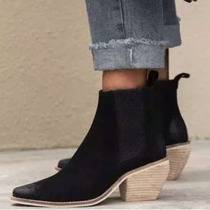 New Women's Pointed Women's Leather Boots Sleeve Fashion Boots Thick Height-increasing Nude Boots Mid-heel Women's Shoes