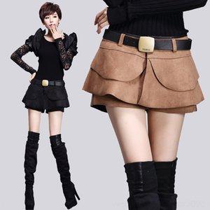 printemps DUYSj femmes et un pantalon de mode volanté tout match velours peau de daim jupe courte Pantalons et courtes femmes jupe skirt- automne Line »