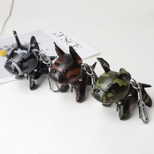 Bulldog Keychain Pu Leather Animal Dog Keyring Holder Bag Charm Trinket Chaveiros Bulldog Bag Accessories 10 colors