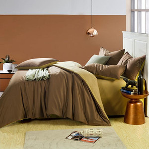 100%Cotton Coffee Grey Queen King size Bedding Set Twin size Bed set Soft Bed sheet Duvet cover parrure de lit ropa de cama