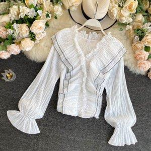 Shirt SINGRAIN design increspature Donne 2020 Autunno francese manica con scollo a V Top coreana Ins Retro Fashion Streetwear camicetta