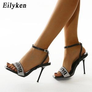 Eilyken Fashion Rhinestone Bling Sandals Women 2021 Summer New Square Toe Ankle Buckle Strap Female Thin High Heels Party Shoes