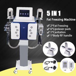 New 5 In 1 Cavitation Cryolipolysis Fat Freezing Slimming Machine Cryotherapy Face RF Ultrasound RF Liposuction Lipo Laser Machine