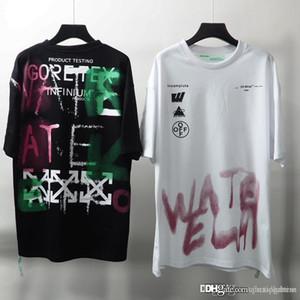New Men Summer Casual футболки граффити письмо печати тройники Мужская мода короткие рукава рубашки хлопка Мужской Топы