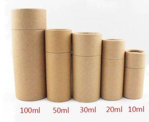 Papier kraft carton bouteille d'huile essentielle bidon le tube kraft cylindar pot rond coffret cadeau emballage cadeau Wrap 10ml 20ml 30ml 50ml 100ml