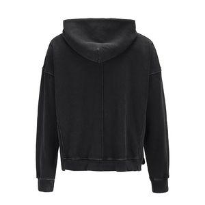 Lavada retro lateral abierto para hombre sudadera con capucha los Streetwear de gran tamaño bolsillo delantero sólido con capucha