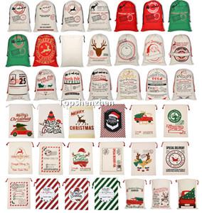 40 개 스타일 크리스마스 산타 자루 선물 가방 대형 유기 헤비 캔버스 가방 산타 자루 졸라 매는 끈 부대와 순록 산타 파티 클로스 자루 가방