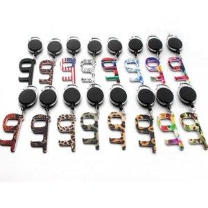Portátil Keychain botões de elevador Contactless Ferramenta chave da porta Pega Protecção Segurança Isolamento No-Touch abridor Car Anel DHF1340