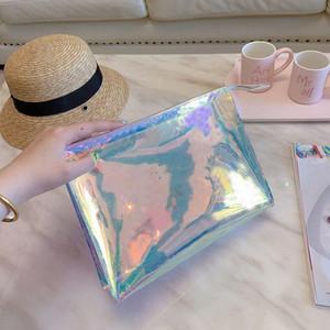 Hot Dazzle Men Clutch Laser Flash PVC Clutches Handbags Transparent Duffle Bag Brilliant Colour Handbags Bag tote bag