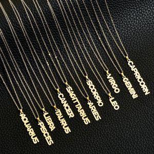 Zodiac Colliers pendentif pour femmes 12 Constellation Bijoux Verseau Poissons Bélier Lettre Taureau Colliers Pendentifs meilleur ami cadeau