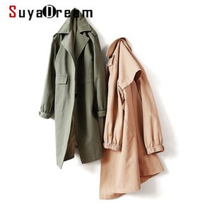 SuyAdream Femme Trenchs longues 100% coton Simple Single Brott Collier Solide Trench Coat 2020 Office Chic automne manteau d'hiver