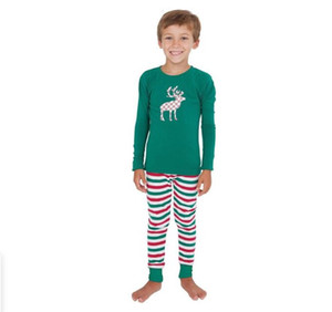 Xmas Parent-child Outfit Child Stripe Printed Pajamas Top Pants Set Adult Christmas Long Sleeve Tops Trousers Pajamas GWF1045