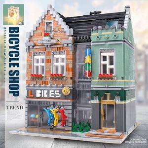 MOC 10004 Rue du bâtiment Jouets Le Bike Shop Modèle Compatible avec 15034 blocs de construction Kit d'assemblage Enfants Cadeaux Christams