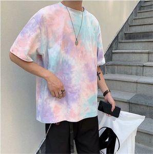 티 셔츠 옴므 패션 넥타이 염료 남성 t- 셔츠 캐주얼 대비 색상 짧은 소매 티셔츠 남성 의류