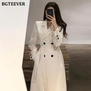 breasted doble BGTEEVER Mujeres con estilo con muesca collar Mezcla abrigos de invierno manera de las señoras abrigos Mujer largo de Coats 2020