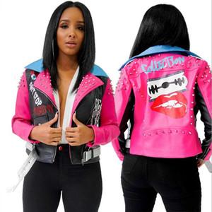 2020 fresco rosa Rivet impressão lapela de Mulheres Contraste Cor Zipper PU longo casaco de couro-manga curta Jacket Mulheres Blusão