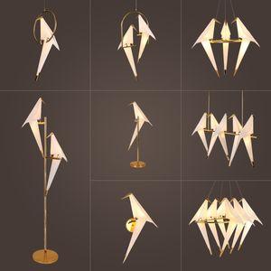 pingente de Ouro Nórdico Bird Cage luz da sala de estar Quarto origami pássaro Luz de cozinha Hanging lâmpada sala de jantar Paper House Luminárias