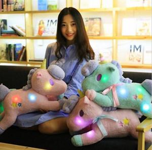 LED Doll Licorne Peluche Peluche Peluche Animal Peluche Peluche Planches Clignotant Dolls Licorne Cadeau Kidstoy pour enfants 50cm KKA3257 5VKM #