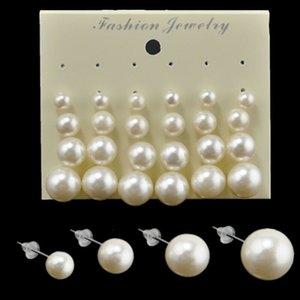 Earings for Woman Fashion White Pearl Piercing Stud Earrings Women Lady Jewelry 6mm 8mm 10mm 12mm Mix Size 1 Card 12 Pairs Pearls Earrings