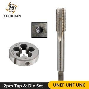 2pcs UNEF UNF rosca UNC roscado Set máquina de impactos macho de roscar HSS Die tornillo de rosca Conjunto de metal Herramientas de perforación