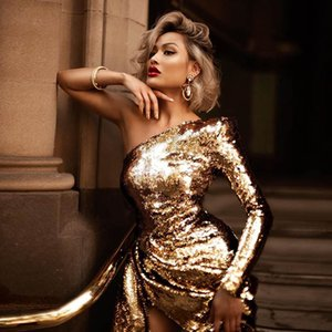 2020 European and American fashion new women's sexy one-shoulder sequined slim dress