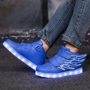 7ipupas New chaussures aile USB charge 25-35 LED de tendance de la mode 7 couleurs baskets lumineuses