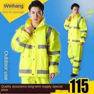 costume jaune fluorescent fluorescent devoir Raincoat de la circulation des hommes imper réfléchissant fendu d'avertissement de trafic adulte