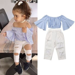 2020 Girls New Cow Pants + T-shirt Top Long Striped Flare Sleeves White Ripped Jeans Fashion Kids 2 Piece Set