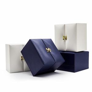 marca joyero azul oscuro PU caja del anillo de cuero puerta opuesta de alto grado collar pulsera