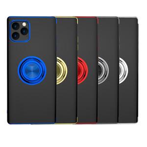 Placage Couvercle de protection de la voiture magnétique invisible Bague de téléphone mobile Shell pour iPhone 11Pro max x XR 7 8 plus avec boîtier de support métallique