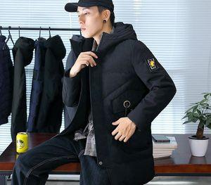 mens designer Winter white hooded medium and long flower coat duck down warm windproof55