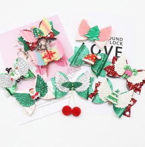 D82405 bebé fiesta de Navidad de la horquilla de ornamentos de las muchachas de Santa arco Hairpi arcos de dibujos animados del polvo del brillo niños pelo de la horquilla accesorios Barrettes