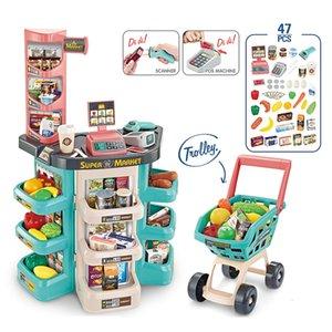 Детская роскошь моделирования супермаркет кассовый аппарат Корзину Комбинированный набор Simulation супермаркет кассиром Детский супермаркет пла