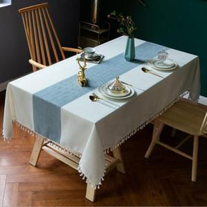 Washable Algodão Linho oco Out costura Tassel Retângulo Toalha de Mesa Table Cover para Kitchen Dinning Tabletop Buffet Decoração DHE190