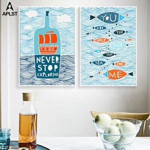 Balık Dalga Posterler ve Baskılar Tekne Salon Yatak Odası Tuval Resim Sergisi Wall Art Pictures alıntı Şişe