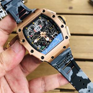 Высокая версия RM11-03 скелет циферблат роза золотая сталь корпус Япония Miyota автоматическое движение RM11-03 мужские часы цвет резиновые ремешки спортивные часы
