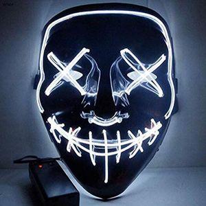 20SS Halloween Party Carnival Mask Horror LED Mask El Wire Светящиеся маска праздник косплей костюм украшения Смешные партии