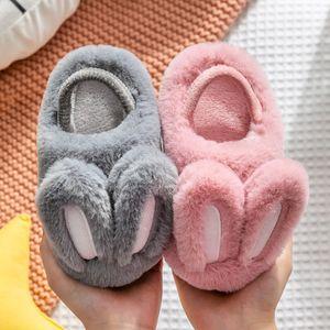 Çocuklar Kabarık Terlik Peluş Tavşan Pamuk Çocuk Beyaz Tavşan Ev Terlik Erkekler Kızlar Yumuşak Alt Kapalı sıcak Shoes