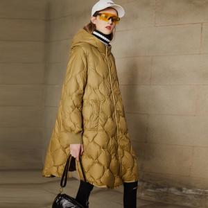 Janveny Kadın Kış Down Coat 2020 Yeni Uzun Beyaz Ördek Aşağı Ceket Gevşek Kadın Parkas Kalın Sıcak Puffer ceketler Kar Dış Giyim T200831