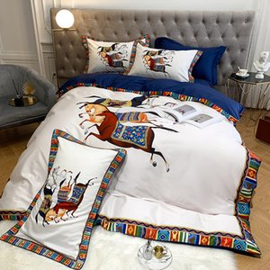 Luxo 100S cetim de algodão egípcio War Horse Digital Printing Bedding Set Duvet Cover cama lençol de linho cabido Fronhas T200822