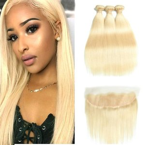H 613 Blonde Bundles Brazilian Remy Straight Human Hair Lace Frontal Closure With Bundles 613 Blonde Human Hair 3 Bundles With Closure